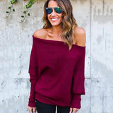 Women Sweater Off The Shoulder Pullover Baggy Sweater Ladies Tops O-neck Chunky Knitted Oversize Sweater Female Jumper 2018-lilugal