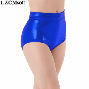 LZCMsoft Women Mid Waist Metallic Shorts For Adults Ballet Performance Dance Bottoms Basic Booty Shorts Fitness Underpants Girls-lilugal