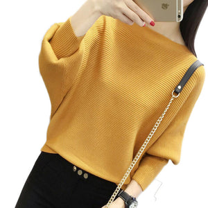 Batwing Sleeve Loose Autumn Women Pullover Sweater Yellow Knit Fashion Female Pull New Arrival Striped Pullovers and Sweaters-lilugal