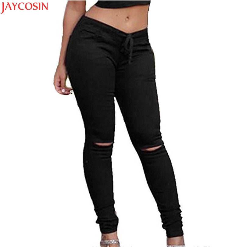 women jeans 4 color Drawstring Spring Pencil Pants Women Skinny Ripped Pants High Waist Stretch Slim Pencil Trousers TJ-lilugal