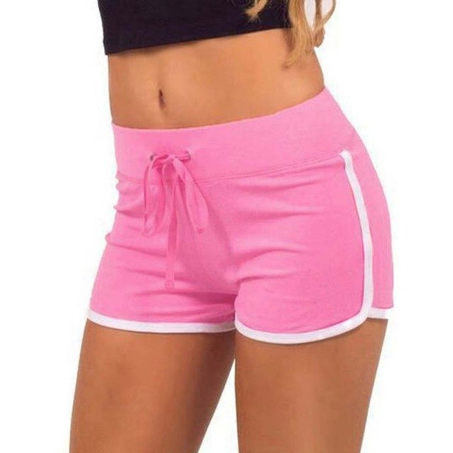 Fast Drying Drawstring Women Shorts Casual Anti Emptied Cotton Contrast Elastic Waist Correndo Short Pants-lilugal