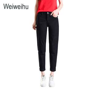 Women Jeans 2018 High Waist Slim Ankle-Length Pants Black Denim Jeans Autumn Casual Ladies White Jeans Female Pant Plus Size-lilugal