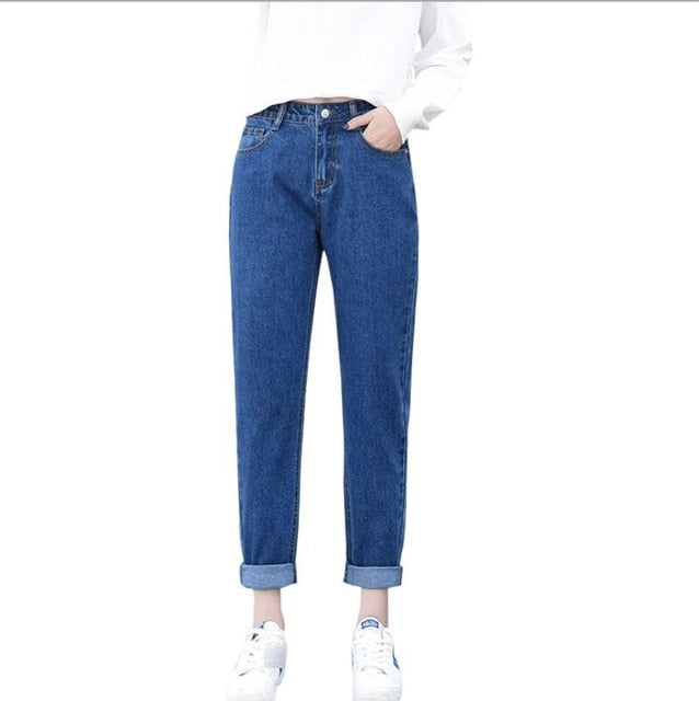 Dunayskiy Jeans Mujer Plus Size High Waist Denim Jeans Woman Loose Boyfriend Washed Jeans Pants Trousers Korean Style Clothes-lilugal