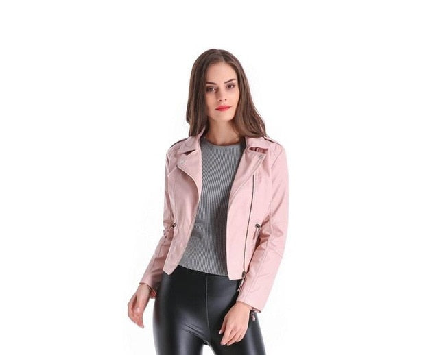 Maylina Plus Size 4XL Leather Jacket Women Short PU Faux Soft Basic Moto Jackets Female Biker Motor Casaco Feminino Coat Outwear-lilugal