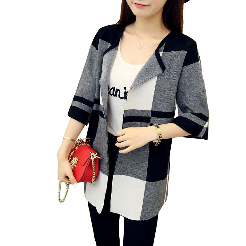 2018 New Autumn Women Cardigans Plaid O-Neck Half Sleeve Long Cardigan Coat Female Casual Knitted Sweater Tops Women Sweaters-lilugal