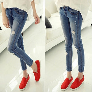 2018 Blue During Waist Holes Jeans Woman Skinny Holes Jeans For Women Boyfriend Jeans For Women Elastic Blue Ripped Jeans-lilugal