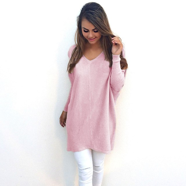 V Neck Women Sweaters Fashion Autumn Winte Sweater 2018 Hot Women Loose Pullover Casual Solid Color Sweater-lilugal