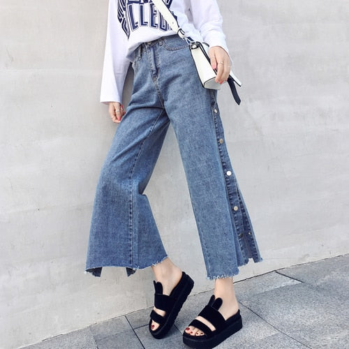 High Waist Jeans Woman 2018 Autumn Korean Vintage Ripped Bottons Side Split Wide Leg Blue Denim Pants pantalon jean fashion B231-lilugal
