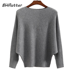 BHflutter Sweater Women Slash Neck Knitted Winter Sweaters Tops Female Batwing Cashmere Casual Pullovers Jumper Pull Femme 2018-lilugal
