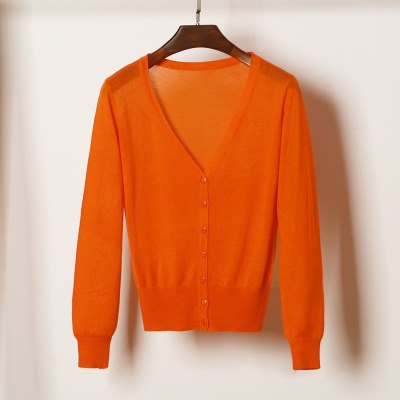 New Solid Color Fashion Women Sweater Female Cardigan Thin Outerwear Summer Short Design Knit Long Sleeve Casual Loose Sweater-lilugal