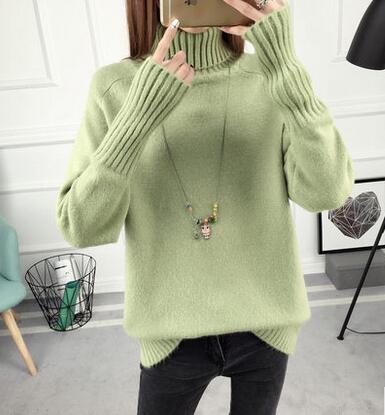 Women Sweater Women Turtleneck Sweater Winter 2018 New Design Green Thick Tricot And Pullover Female Jumper Tops LU405-lilugal