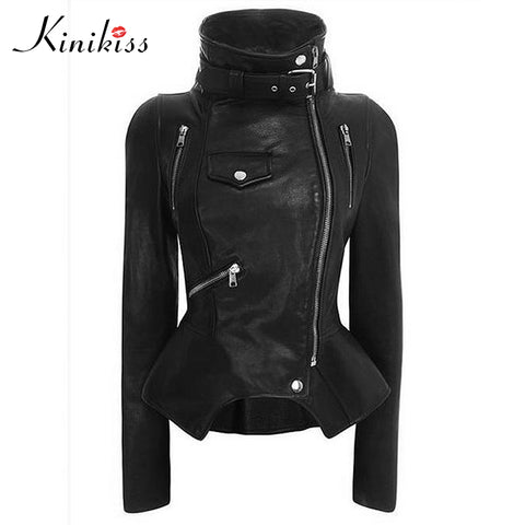 Gothic faux leather coats Women Winter Autumn Fashion Motorcycle Jacket Black Outerwear faux leather PU Jacket 2018 Coat HOT-lilugal