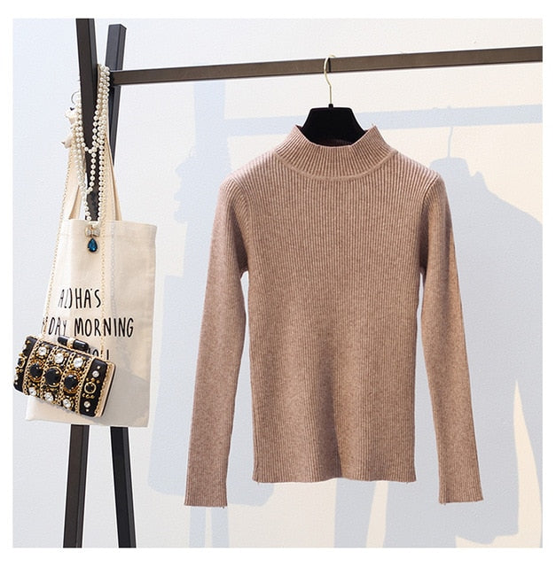 2018 Autumn Winter Women Pullovers Sweater Knitted Elasticity Casual Jumper Fashion Slim Turtleneck Warm Female Sweaters 9011-lilugal