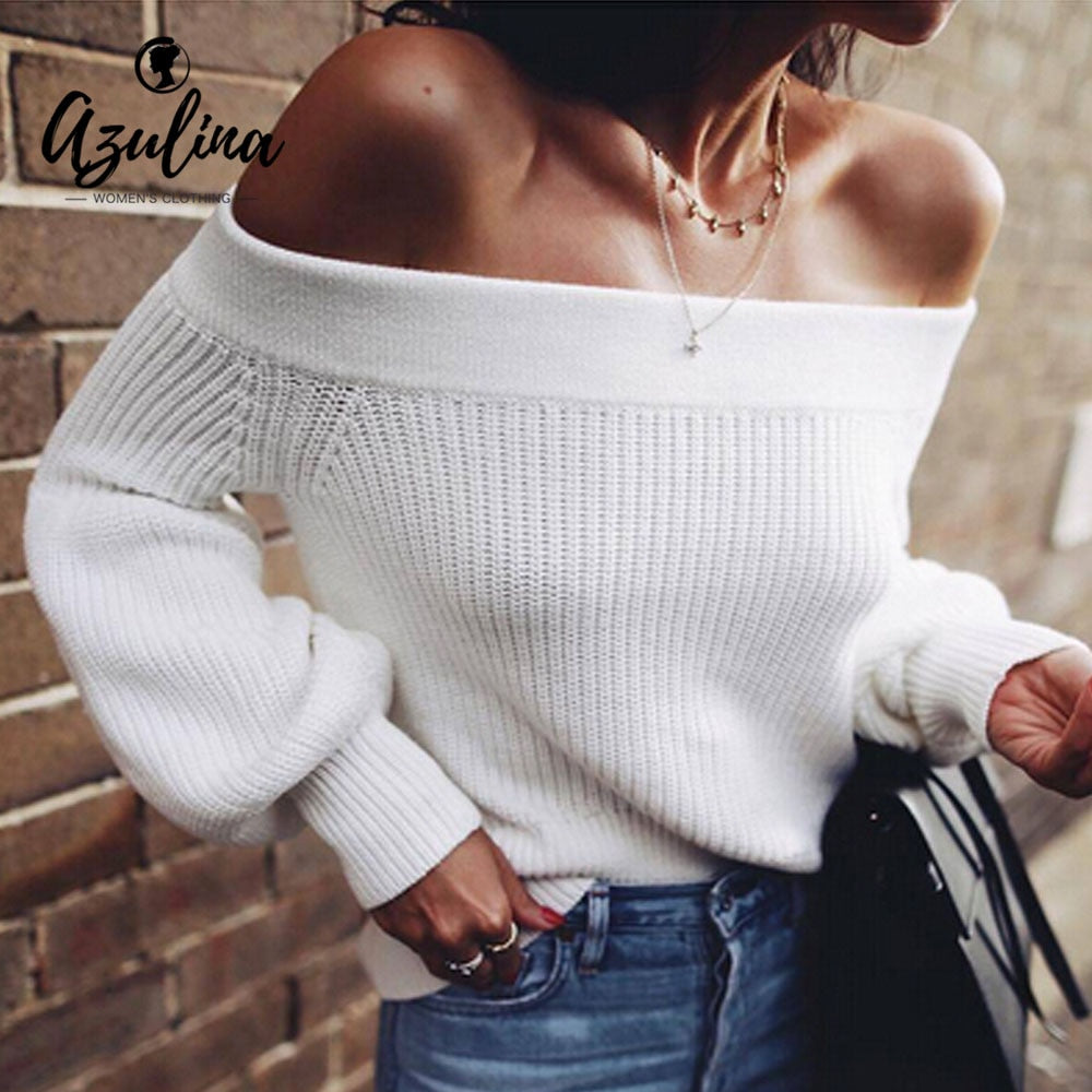 AZULINA Off Shoulder Sweater Lantern Sleeve White Sweater Pullovers Female 2018 Autumn Casual Sweaters Women Clothing Pull Femme-lilugal