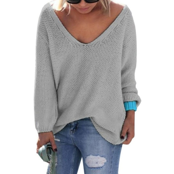 Women Casual Sweater Pullover 2018 Autumn Knitted Basic Tops Solid Loose Essential Jumper Cute Elegant V Neck Sweaters Hot Sale-lilugal