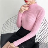Jersey Mujer Invierno 2018 Thick Women Sweater and Pullovers Turtleneck Long Sleeve Hollow Out Solid Sueter Mujer Pull Femme-lilugal