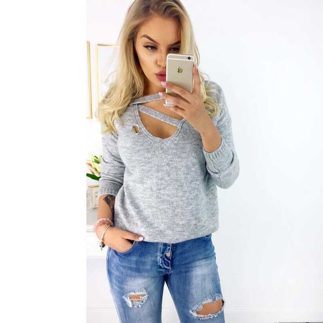 Autumn Winter Knitted Sweaters Women 2018 Loose Sweater Women Pullovers Jumper V-neck Long Sleeves Female Sweaters Femme Tops-lilugal