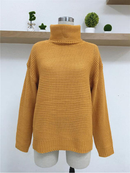 Helisopus 2018 Autumn Winter Women Sweater Solid Color Loose Turtleneck Pullovers Female Long Sleeve Casual Sweaters-lilugal