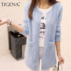 TIGENA Long Cardigan Female 2018 Spring Autumn Long Sleeve Crochet Cardigan Women Sweater Women Knitted Jacket Tops-lilugal