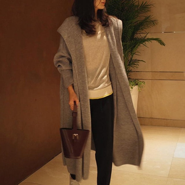 Autumn Over-knee Length Hooded Knitwear Solid Color Loose Cardigan for Women Slim Knitting Outerwear Coat with Pockets Topcoats-lilugal