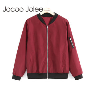 Jocoo Jolee Fashion Bomber Jacket Women Long Sleeve Basic Coats Casual Windbreaker Thin Slim Outerwear Short Jackets 2018-lilugal