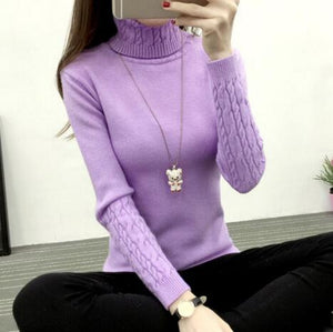 Women Sweaters And Pullovers Autumn Winter Turtleneck Long Sleeve Pull Femme White pink Color Women Casual Knitting Sweater 2018-lilugal