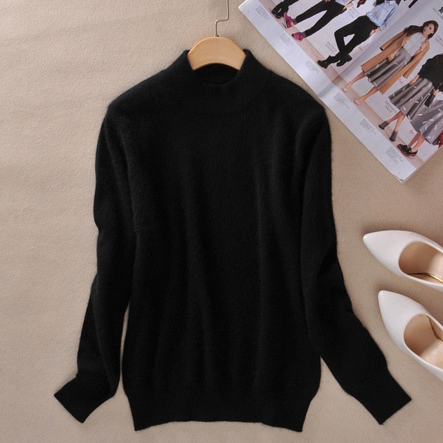 Women's Cashmere Elastic Autumn Winter Half Turtleneck Sweaters and Pullovers Wool Sweater Slim Tight Bottoming Knitted Pullover-lilugal