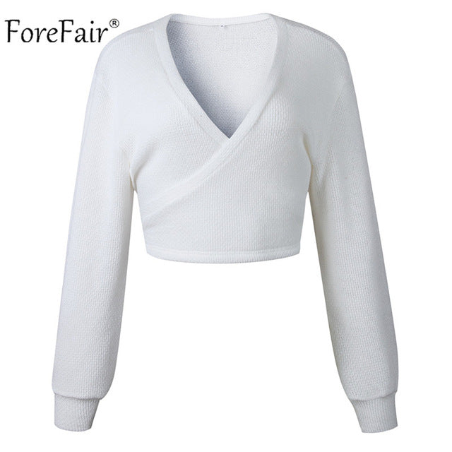 Forefair Off Shoulder V Neck White Sweaters Women 2018 Autumn New Back Bow Lantern Sleeve Sexy Slim Crop Tops Solid Streetwear-lilugal