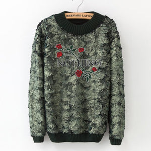 2018 women's autumn and winter new solid color beaded stitching sweater warm Harajuku fashion high-necked fashion slim sweater-lilugal