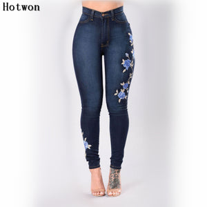 Embroidery Floral Women Jeans Slim Fit Stretch High Waist Pencils Denim Pants Skinny Female Trousers Mujer Femme Plus Size-lilugal