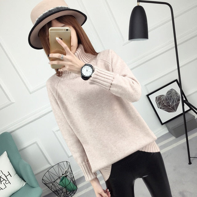 PEONFLY 11 colors Sweater Women Turtleneck Long Sleeve Tricot Women Sweaters And Pullovers Female Knitted Jumper Jersey Tops-lilugal