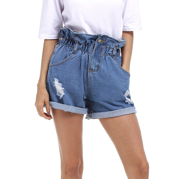38a648e3c Elastic High Waist Denim Shorts Women Curling Hole Loose Harem Casual –  lilugal