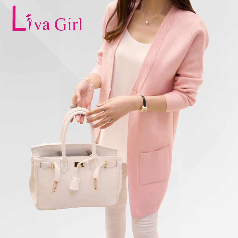 Liva Girl Long Cardigan Women Autumn Winter 2018 Female Long Sleeve Cardigan Slim Pockets Sweater Knitted Cardigans Women Coats-lilugal