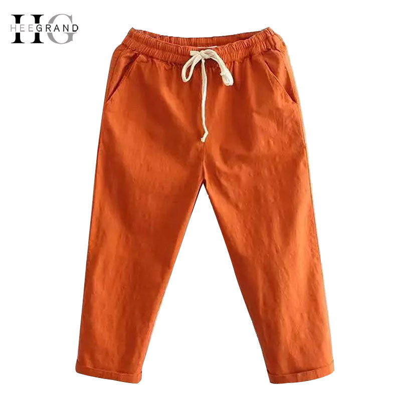 HEE GRAND Women's Candy Pants 2018 Soft Harem Mom Jeans Girls Trousers Mid Elastic Waist Calf Length Stretch Loose Pant WKD572-lilugal