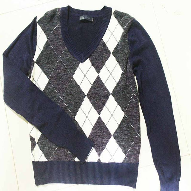 Autumn England Style Pullover Sweater Ladies Jacquard Pattern Sweater V-Neck Rhombus Plaid Pattern Knit Long-sleeved sweater-lilugal