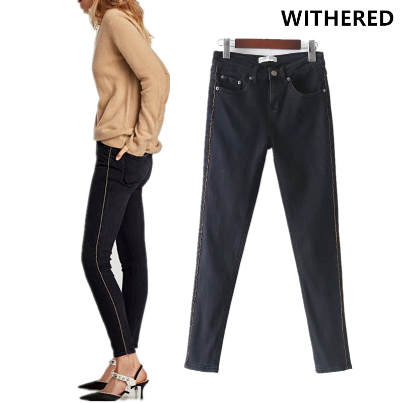 Withered 2017 jeans women european and american style washed side striped of Metal high waist skinny push up pencil jeans women-lilugal