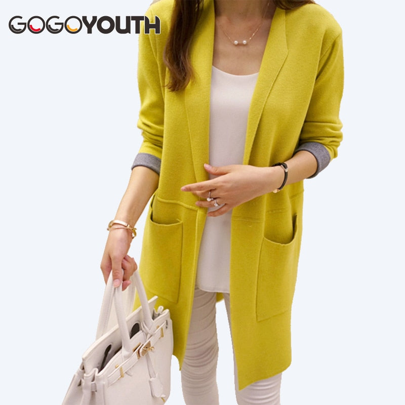 Gogoyouth Long Cardigan Female 2018 Spring Autumn Long Sleeve Knitted Women Sweater Cardigan Women Winter Tops jumper Long Coat-lilugal