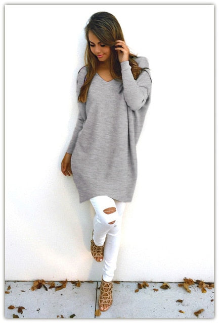 S-XXL Fashion Autumn Winter Vestidos Dress Womens V-Neck Loose Knitted Oversized Baggy Sweater Jumper Tops Dress Outwear-lilugal