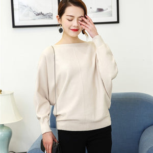 BHflutter 2018 Winter Sweaters Pullovers Women Batwing Cashmere Sweater Slash neck Female Casual Knitted Jumper Top Sueter mujer-lilugal