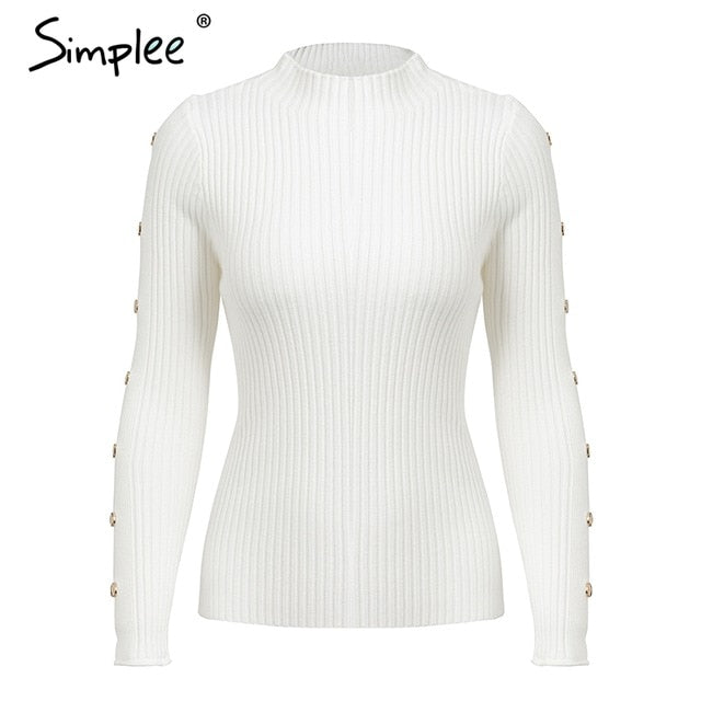 Simplee Turtleneck slim fit autumn women sweater Rivet knitted sweaters and pullovers female jumper tops 2018 casual-lilugal