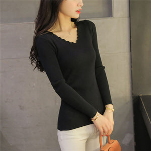 Pull Femme Hiver 2018 Autumn Winter Knitted Women Sweaters and Pullovers V Neck Long Sleeve Solid Slim Women Tops Chandail Femme-lilugal