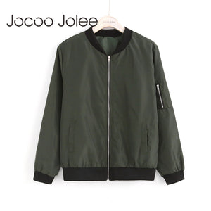 Jocoo Jolee Women Thin Jackets Fashion Basic Bomber Jacket Long Sleeve Coat Casual Windbreaker Stand Collar Slim Outerwear-lilugal