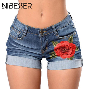 NIBESSER 2018 Fashion High Waist Femme Vintage Shorts Casual Denim Shorts Women Summer Floral Embroidery Sexy Mini Short Jeans-lilugal