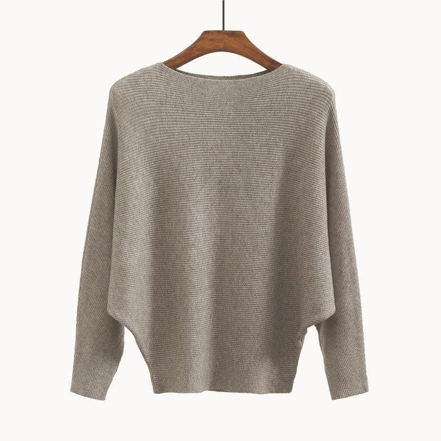 Women's Sweaters and Pullovers Coat Batwing Sleeves Loose Cashmere Sweatershirt Slash neck Female Wool Knitted Brand Jumpers-lilugal