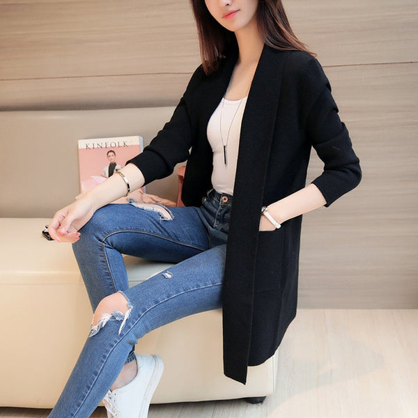 2017 New Spring Autumn Knitted Sweater Cardigan Women Winter Jacket Loose Big Yards Joker Casual Long Sweaters Coat Harajuku-lilugal