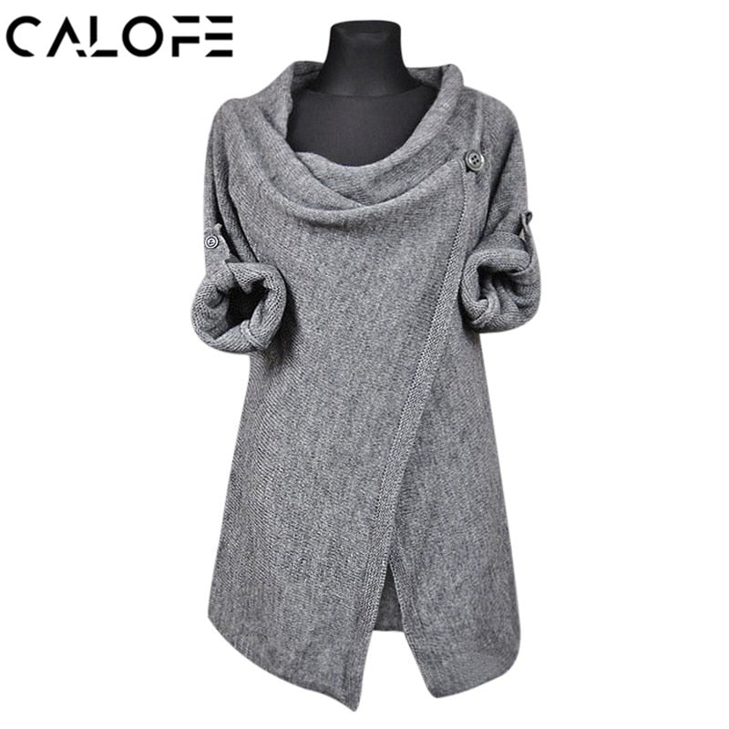 CALOFE Autumn Women Cardigan Overcoats Fashion Solid Knitted Sweaters Casual Long Sleeve Irregular Coats Female Outwear-lilugal