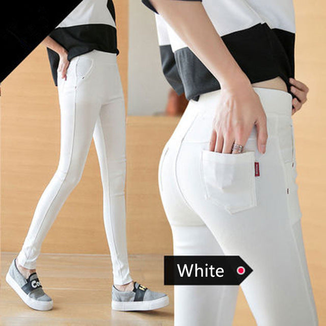 ZHISILAO 2018 Woman Jeans Skinny Jeans Denim Pants Pencil Pants Woman Trousers Woman Pantalon Mujer High Waist Casual Pants Red-lilugal