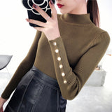 OHCLOTH Sweater female Half downneck female thickening 2018 new winter sweater slim all-match elastic knit Fashion slim sweaters-lilugal