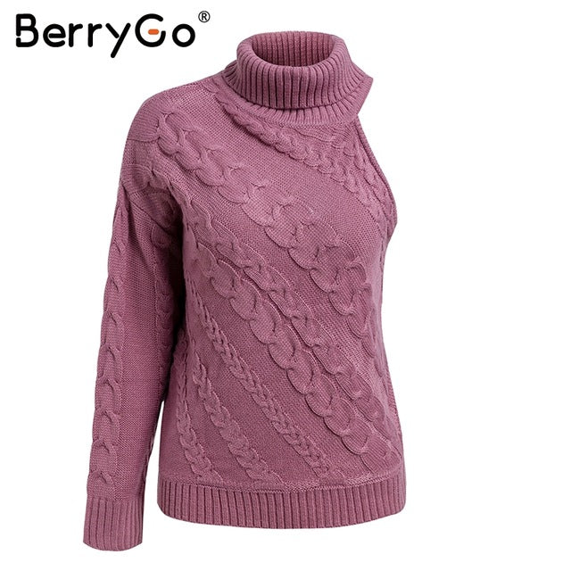 BerryGo One shoulder white turtleneck knit sweater female Fashion long sleeve casual pullover Women 2018 autumn winter jumper-lilugal