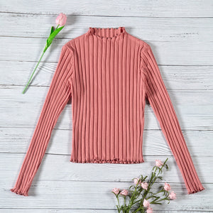 Women New Korean Style Fashion Sweater 2018 Autumn Pure Slim Cotton Casual Pullover Stringy Selvedge Girls Elegant Cute Knitwear-lilugal